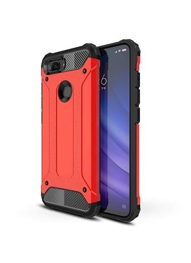Microsonic Xiaomi Mi 8 Lite Kılıf Rugged Ar  Kırmızı